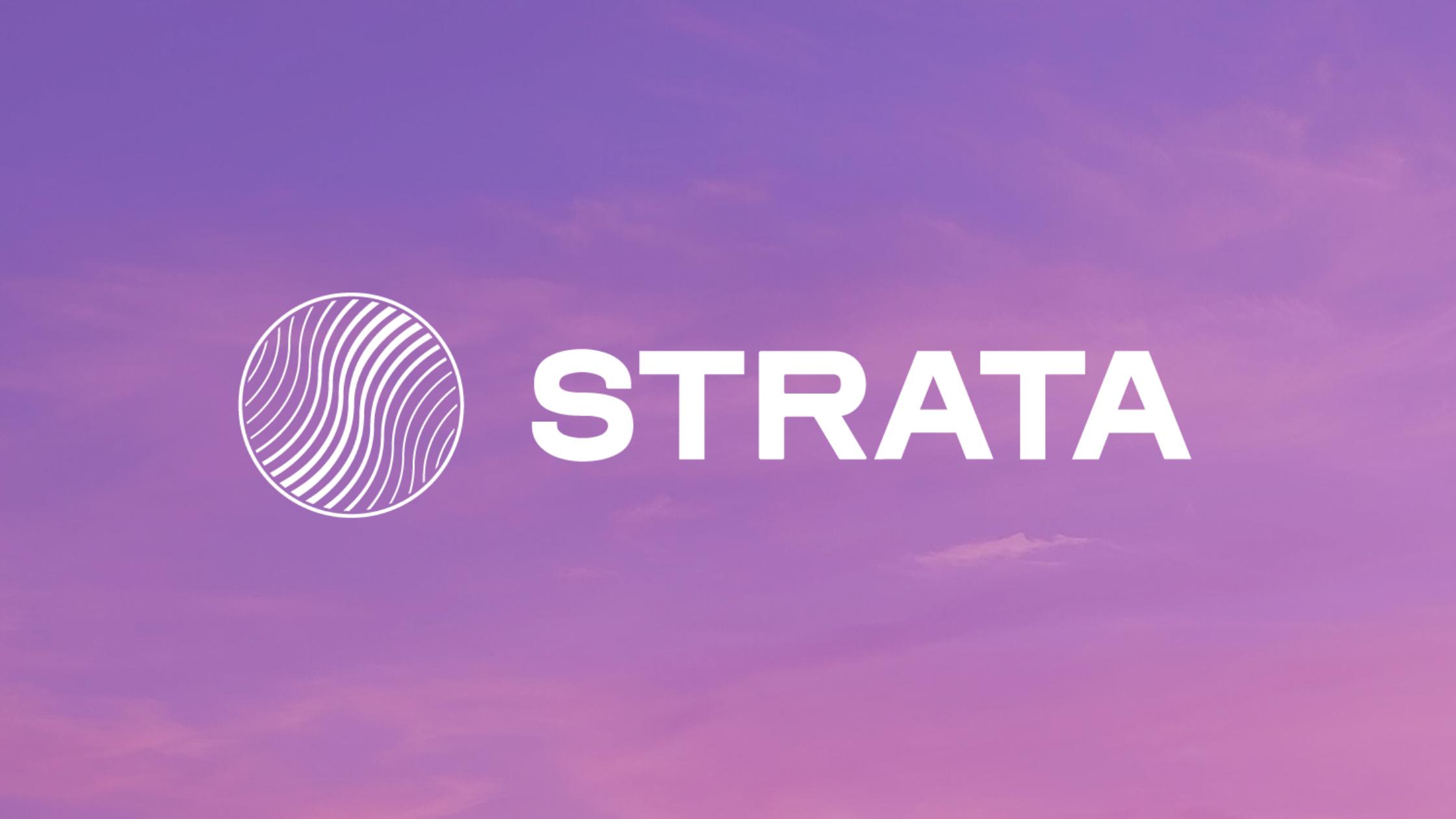 Strata Identity Logo on Purple Skies background